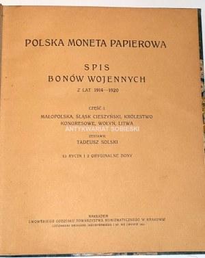 SOLSKI - POLSKA MONETA PAPIEROWA, spis bonów wojennych z lat 1914-1920