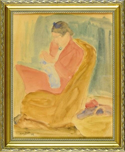 Henryk HAYDEN (1883-1970), Szyjąca kobieta siedząca w fotelu, 1946