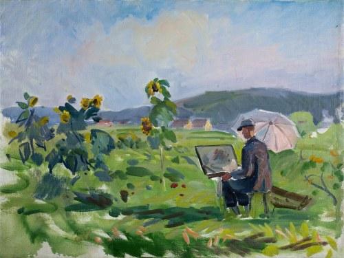 Władysław SERAFIN (1905-1988), Artysta przy sztalugach w plenerze