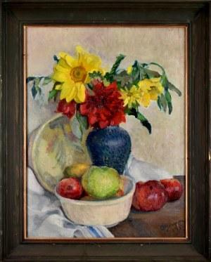 Olgierd BIERWIACZONEK (1925-2002), Martwa natura z kwiatami w wazonie i owocami, 1950