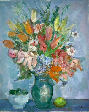 Henryk KRYCH (1905-1980), Kwiaty i cytryna