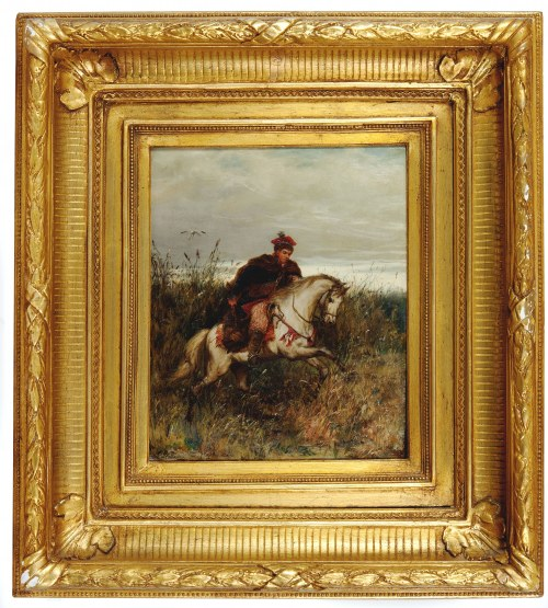 Ludwik GĘDŁEK (1847-1904), Posłaniec – Krakus pędzący na koniu