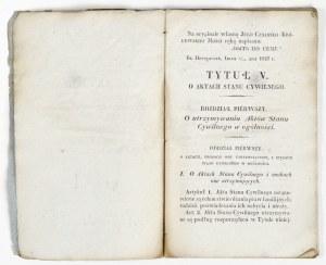 1837 - O AKTACH STANU CYWILNEGO
