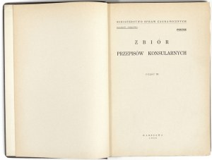 1930 - ZBIÓR PRZEPISÓW KONSULARNYCH