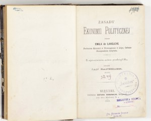 1886 - Laveleye, ZASADY EKONOMII POLITYCZNEJ