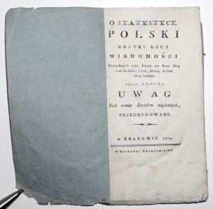 1809 - Staszic, O STATYSTYCE POLSKI & 1809 UWAGI nad pismem o statystyce Polski