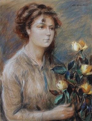 Stanisław Górski, (1887-1955) Portret kobiety z różami