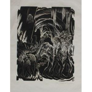 """Stefan Mrożewski, (1894-1975) Ilustracja do """"Boskiej komedii"""" Dantego. Piekło, Pieśń XX"""
