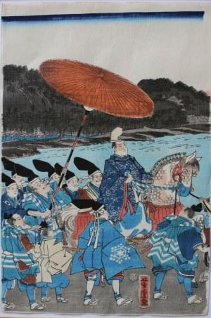 Utagawa Yoshitora, (czynny ok.1850-1880) Powrót wojsk Ashikagawy Yorimitsu
