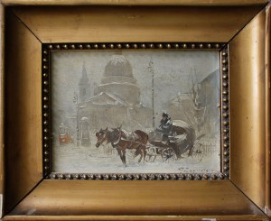 Ignacy Zygmuntowicz, (1875-1947) Dorożka na placu