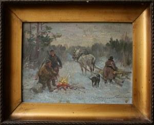Ignacy Zygmuntowicz, (1875-1947) Myśliwi przy ognisku