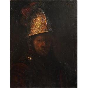 Malarz polski?, około poł. XX w., Mężczyzna w złotym hełmie