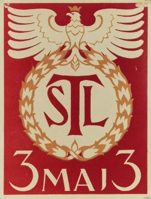 Patriotyczny plakat upamiętniający rocznicę uchwalenia Konstytucji 3 Maja, wydany przez TSL [Towarzystwo Szkół Ludowych]