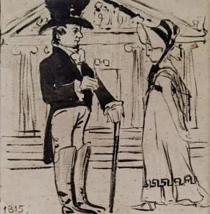 Artysta nieokreślony, polski, XX w., Spotkanie na spacerze w roku 1815,  pocz. XX w.