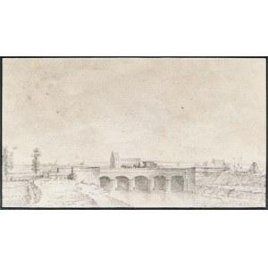 Artysta nieokreślony, XIX w., Pejzaż z mostem i portem