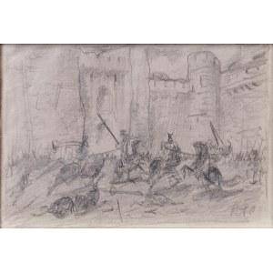 Ryszard PRAUSS (1902-1955), Bitwa z czasów średniowiecza - szkic, przed 1939