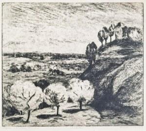 Janina KONDRACKA-OKORNICKA (1927-2008), Pejzaż z białymi drzewami, 1955