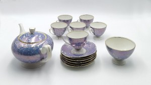 CHODZIEŻ, Serwis do kawy z błękitną marmoryzacją