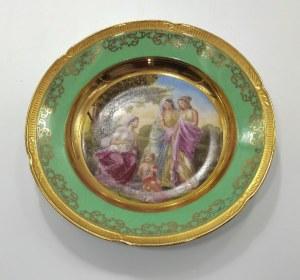 CHODZIEŻ, Talerz dekoracyjny z antykizującą miniaturą w lustrze