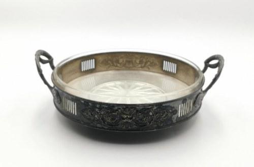 Bracia BUCH (firma czynna 1809-1944, w 1882 fuzja z firmą NORBLIN) , Patera ze szklanym wkładem