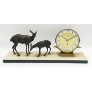 Firma SILVOZ, Zegar gabinetowy art déco z sarenkami