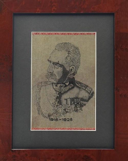 Żakard z wizerunkiem Marszałka Józefa Piłsudskiego wykonany z okazji 10-lecia odzyskania niepodległości