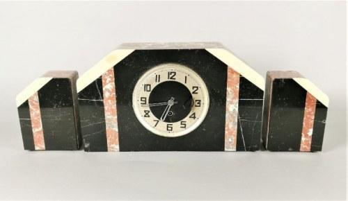 Zegar kominkowy art déco, z parą słupków