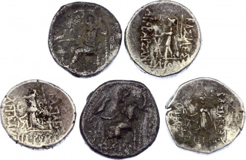 Ancient Greece Lot of 5 Silver Drachm 350 - 250 BC