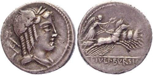 Roman Republic Denarius 85 BC, L. Iulius Bursio