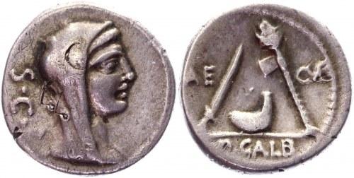 Roman Republic Denarius 69 BC, P. Galba