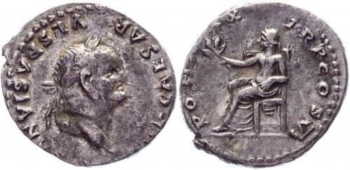 Roman Empire Denarius 75 AD, Vespasian