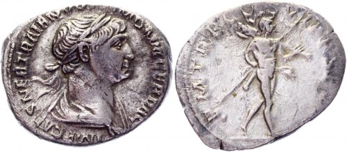 Roman Empire Denarius 101 - 102 AD, Trajan
