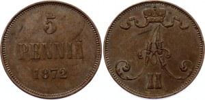 Russia - Finland 5 Pennia 1872