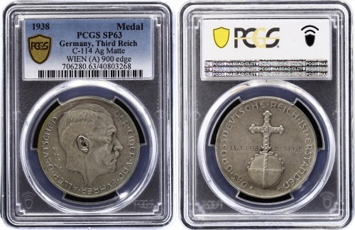 Germany - Third Reich Medal Munich Agreement 1938 PCGS SP 63