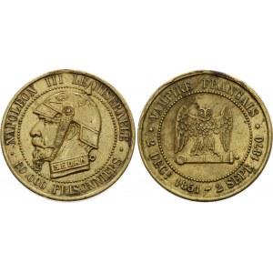 France Brass Satirical Medal Napoleon III le Miserable 1870