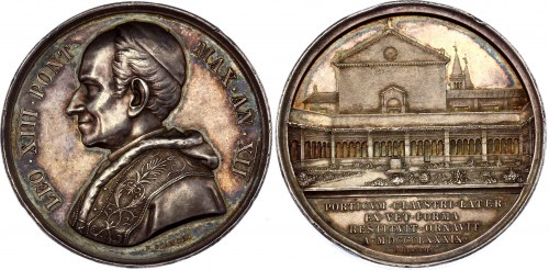 Italian States Vatican Leo XIII Silver Medal 1889 (Anno XII)