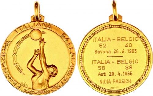 Italy Nidia Pausich Gold Medal 1965 Italian Basketball Federation
