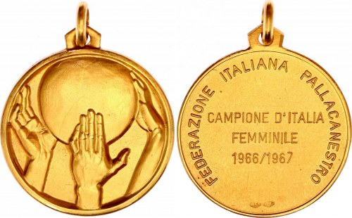 Italy Italian Basketball Federation - Female Champion Gold Medal 1966 - 1967