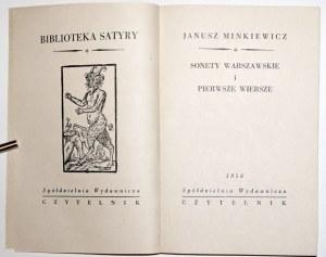 Minkiewicz J., SONETY WARSZAWSKIE i PIERWSZE WIERSZE [wyd.1] [Tomaszewski]