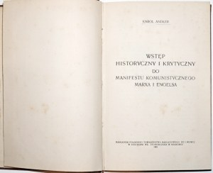 Andler K., [komunizm, Marx, Engel] WSTĘP HISTORYCZNY i KRYTYCZNY do MANIFESTU KOMUNISTYCZNEGO, 1905