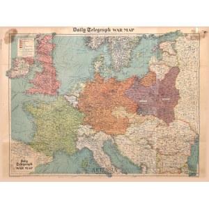 Wyd. George Philips&Son, Wielka Brytania, Londyn, War map dla The Daily Telegraph, 1939