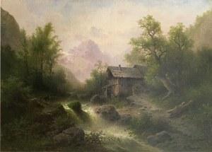 Albert Rieger (1834 - 1905), Pejzaż górski z młynem, 2 poł. XX w.