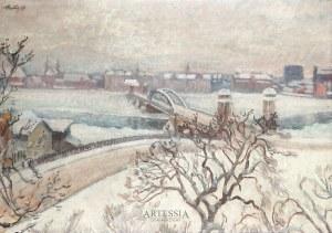 Fryderyk Pautsch (1877 - 1950), Zimowa panorama miejska, 1925