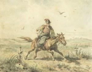 Józef Brandt (1841 Szczebrzeszyn – 1915 Radom), Kozak jadący przez step, 1864 r.