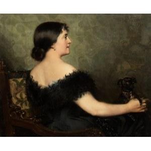 Paweł Merwart (1855 Marianówka - 1902 Saint-Pierre), Portret damy z pieskiem, 1894 r.