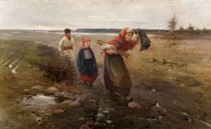 Apoloniusz Kędzierski (1861 Suchedniów – 1939 Warszawa), Na błotnistej drodze, 1890 r.