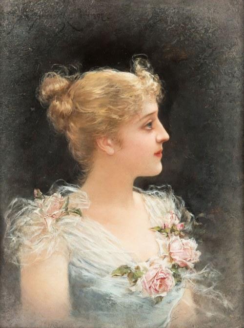Emile Eisman-Semenowsky (1857 Polska – 1911 Paryż ?), Portret młodej kobiety, 1892 r.