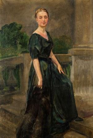 Wojciech Kossak (1856 Paryż - 1942 Kraków), Portret damy na schodach