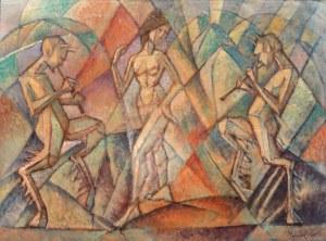 Jerzy Hulewicz (1866 Kościanki k. Wrześni - 1941 Warszawa), Tancerka i grające fauny, 1925 r.