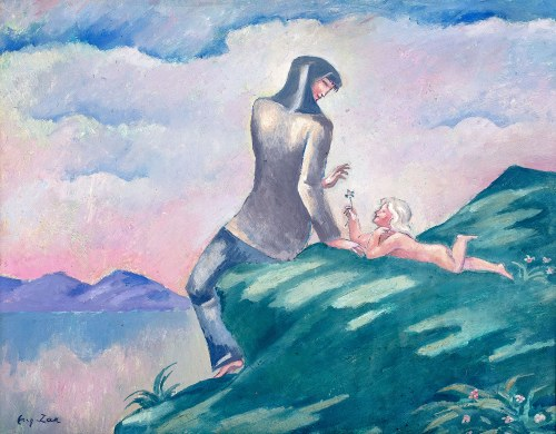 Eugeniusz Zak (1884 Mogilno – 1926 Paryż), Kobieta z dzieckiem na brzegu jeziora, (ok. 1913 r.?)